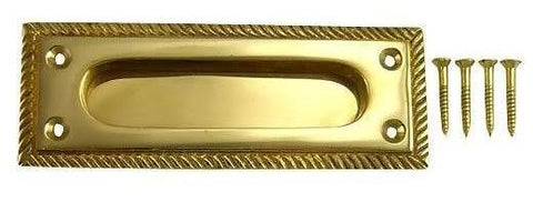 Rectangular Georgian Roped Solid Brass Sash Pull (Polished Brass)