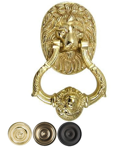 4 3/4 Inch Large Ornate Lion Door Knocker in Several Finishes