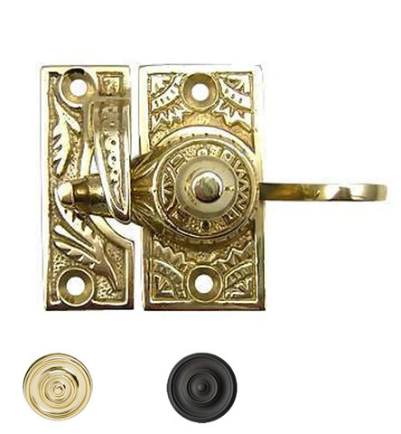 Oriental Pattern Solid Brass Sash Lock