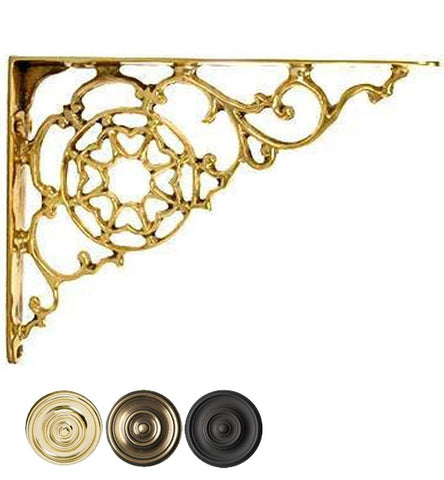 6 3/4 Inch Solid Brass Star Shape Shelf Bracket