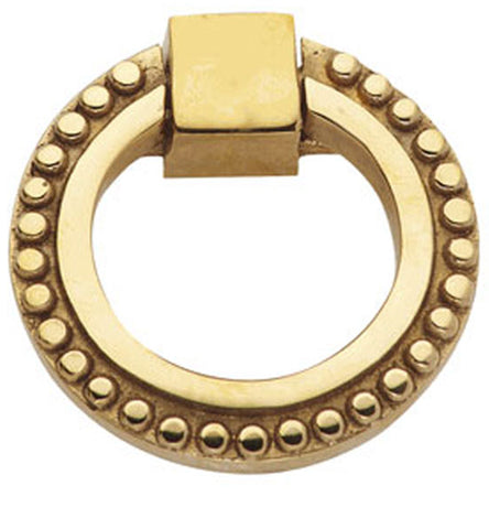 2 Inch Solid Brass Beaded Drawer Ring Pull