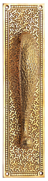 12 Inch Solid Brass Rice Pattern Door Pull and Plate