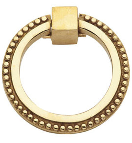 3 Inch Solid Brass Beaded Drawer Ring Pull