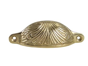 4 Inch Overall Solid Brass Art Deco Bin or Cup Pull