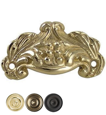3 Inch Overall (2 3/8 Inch c-c) Solid Brass Cup Pull
