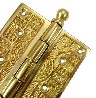 3 1/2 x 3 1/2 Inch Ball Tipped Victorian Solid Brass Hinge