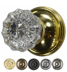 Regency Fluted Crystal Door Knob with Victorian Rosette