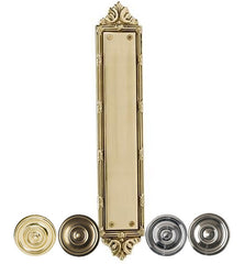 13 3/4 Inch Solid Brass Ribbon & Reed Push Plate