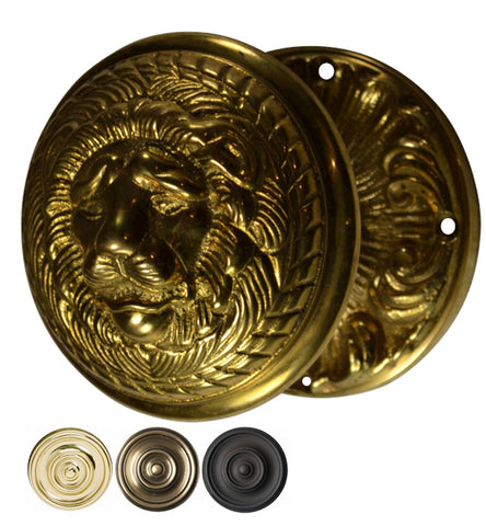 Lion Head Door Knob Set with Romanesque Rosette