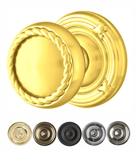 Solid Brass Rope Door Knob Set With Ribbon & Reed Rosette