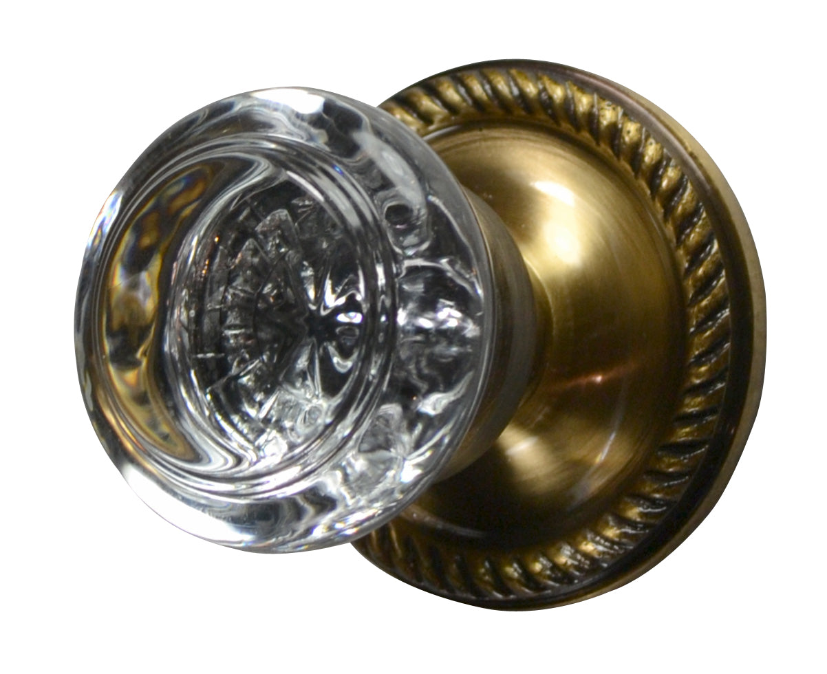 Savannah Crystal Round Door Knob Georgian Roped