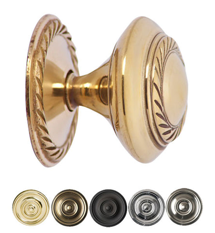 1 1/2 Inch Brass Round Knob with Georgian Roped Border