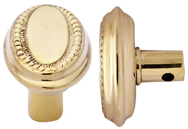 Solid Brass Small Beaded Oval Spare Door Knob Set