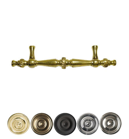 6 1/2 Inch Overall (4 Inch c-c) Solid Brass Georgian Pull