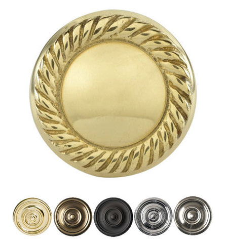 Solid Brass Round Georgian Roped Cabinet & Furniture Knob