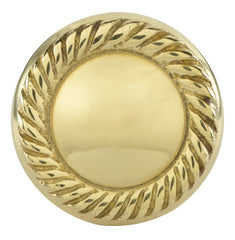 1 1/4 Inch Solid Brass Round Georgian Roped Border Knob
