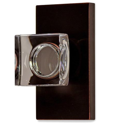 Square Crystal Door Knob with Rectangular Plate