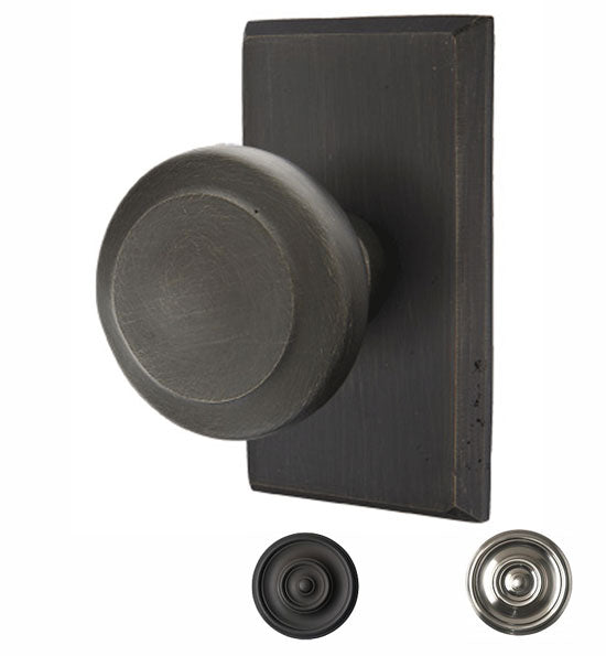 Solid Brass Sandcast Butte Door Knob Set With Rectangular Rosette