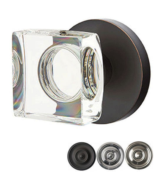 Modern Square Crystal Door Knob Set Disk Rosette (Several Finishes)