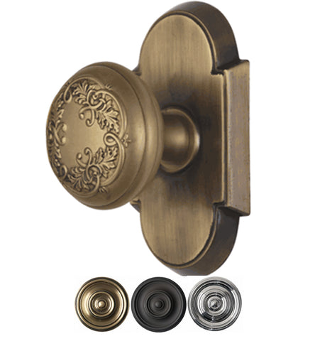 2 Inch Floral Leaf Door Knob With Arched Rosette
