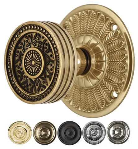 2 1/4 Inch Sunburst Rice Pattern Door Knob With Feather Rosette