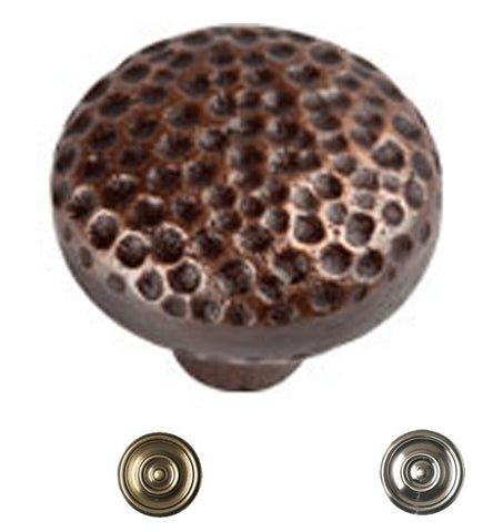 1 1/2 Inch Mission Style Solid Copper Large Round Knob