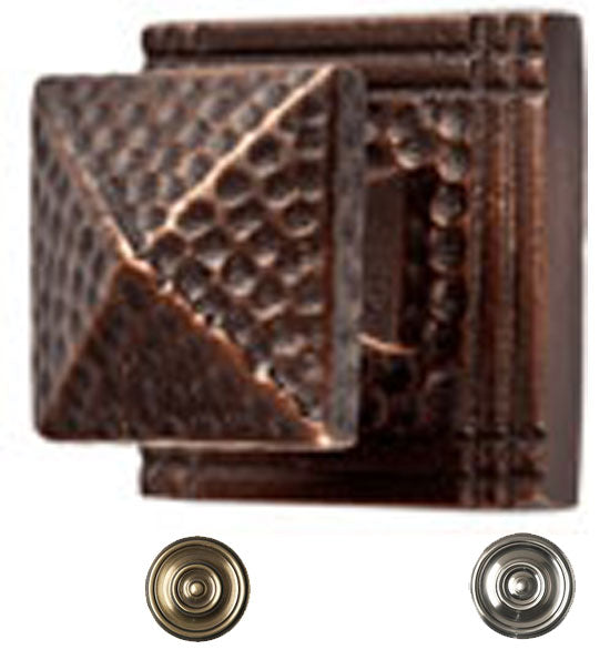 1 1/2 Inch Craftsman Style Solid Copper Small Pyramid Knob with Backplate