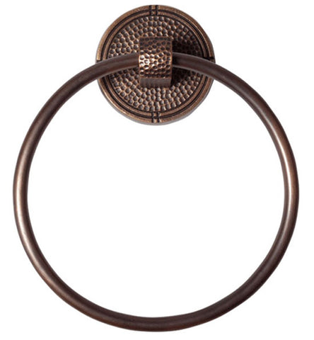 6 3/4 Inch Mission Style Solid Copper Round Towel Ring