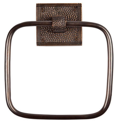 7 Inch Craftsman Style Solid Copper Square Towel Ring