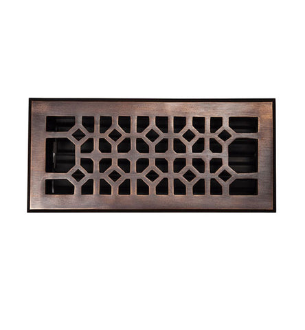 10 x 4 Inch Solid Copper Floor Register With Damper