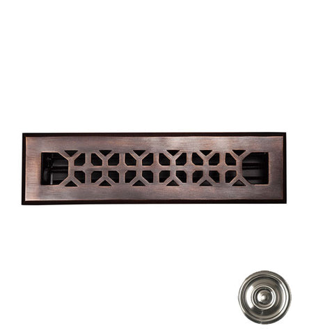 12 x 2 1/4 Inch Solid Copper Floor Register With Damper