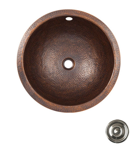 15 Inch Solid Copper Medium Round Self Rim Sink