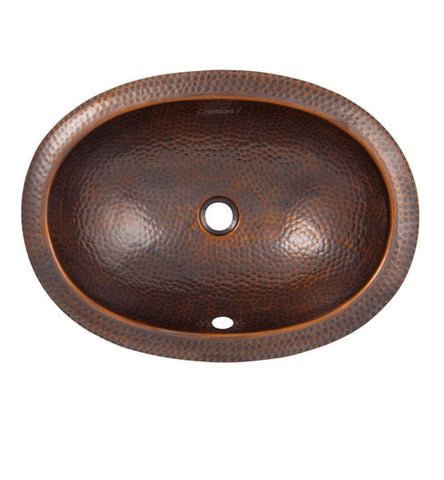 21 Inch Solid Copper Oval Self Rim Sink