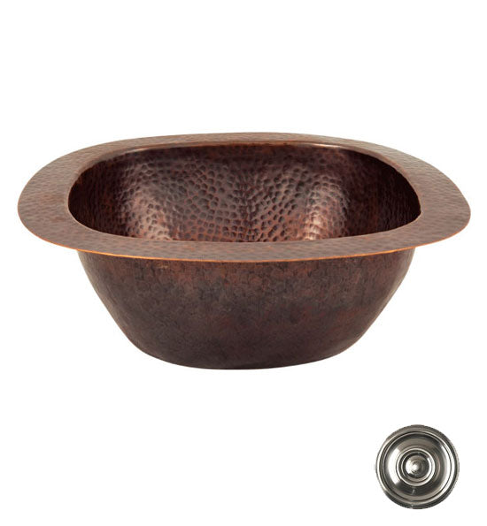 13 Inch Solid Copper Small Square Bar/Prep Sink