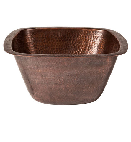 13 Inch Solid Copper Medium Square Bar/Prep Sink