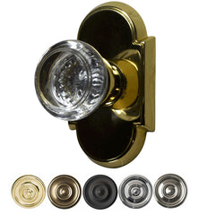 Solid Brass Round Crystal Door Knob Set With Arched Rosette