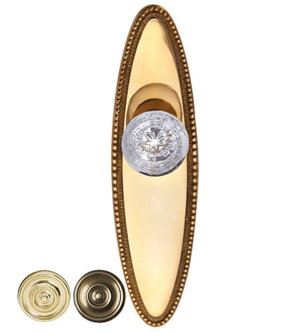 Vassar Crystal Glass Door Knob Set with Beaded Oval Backplate