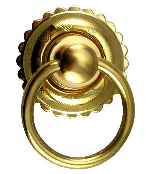 1 3/4 Inch Solid Brass Eastlake Style Ring Pull Handle