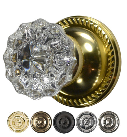 Crystal Fluted Door Knob Georgian Roped Plate