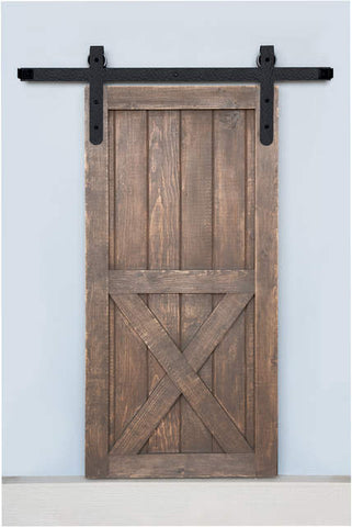 Barn Door Track System in Rough Iron Rounded Ends