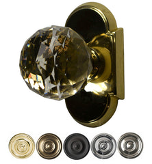 Solid Brass Cut Glass Door Knob Set With Arched Rosette