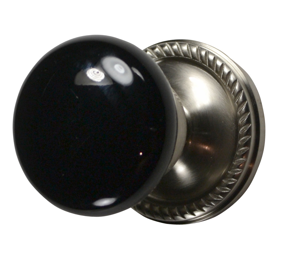 Black Porcelain Door Knob with Georgian Roped Rosette