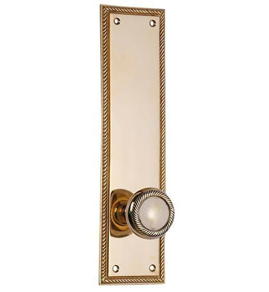 Solid Brass Georgian Roped Door Set with Roped Edged Back Plate