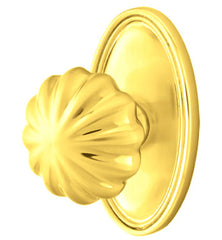 Solid Brass Melon Door Knob Set With Oval Rosette