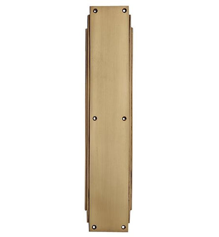 14 Inch Solid Brass Art Deco Skyscraper Push Plate