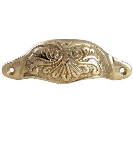 4 3/8 Inch Overall (3 3/4 Inch c-c) Solid Brass Ornate Victorian Scroll Cup or Bin Pull