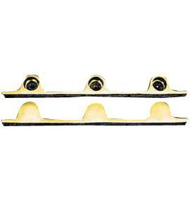 Pair Solid Brass Security Triple Push Bar Bracket Ends Polished Brass