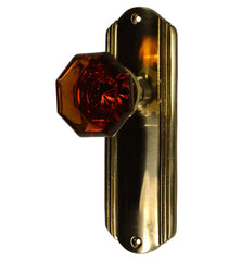 Crystal Octagon Amber Glass Knob Set With Art Deco Back Plate