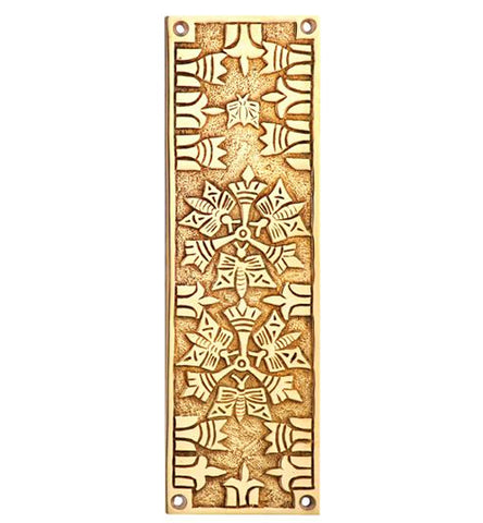 10 Inch Solid Brass Art Deco Push Plate in Several Finishes