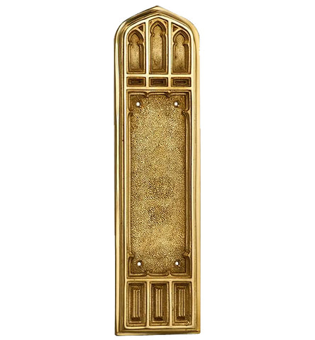 12 1/4 Inch Gothic Push Plate in Several Finishes